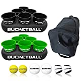 BucketBall - Team Color Edition - Party Pack (Black/Green): Original Yard Pong Game: Best Camping, Beach, Lawn, Outdoor, Family, Adult, Tailgate Game