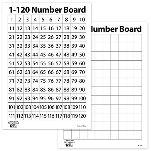 120 Wipes - Learning Advantage 7289 1-120 Number Dry Erase Boards, Grade: Kindergarten to 6, Plastic (Pack of 10)