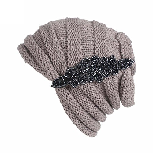 URIBAKE Women's Winter Wool Knitting Hat Turban Brim Ladies' Hat Cap Pile Cap Warm Beanies -