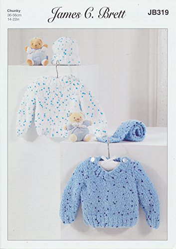James Brett Chunky Knit Pattern Baby Kids Round or V Neck Sweaters Hat & Scarf Confetti Yarn (JB319)
