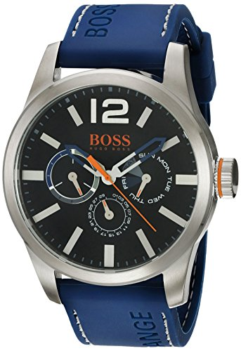 (HUGO BOSS Orange Men's Quartz Stainless Steel and Leather Casual Watch, Color:Blue (Model: 1513250))