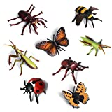 Odowalker 8 pcs Lifelike Assorted Plastic Insects Bugs Figures Realistic Sandbox Toy 4'' Butterfly, Bee, Ladybug, Grasshopper, Mantis,Uang,Stag Beetle