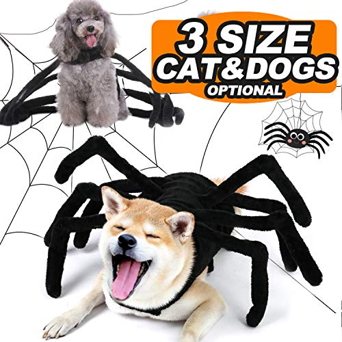 Thanksgiving Costumes Pets Dogs Cats Spider Pets Costume for Small Medium Dogs Thanksgiving Party Pet Shirt Cosplay Hoodies Dress Up Funny Pet Clothes Puppy Apparel (Medium/Chest 16.77″/7.7-9.9LB)