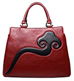 PIJUSHI Womens Top Handle Handbags Designer Genuine Leather Satchel Bag (6922, Red)