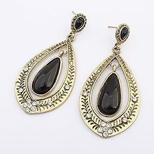 CRF Pendientes retro geométricos gota joya de la moda-Negro