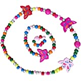 SmitCo LLC Kids Jewelry - For Little Girls and Toddlers - Stretch Butterfly Necklace, Ring, Bracelet Set - Great Costume Jewelry and Accessories For Children To Play Pretend and Dress Up