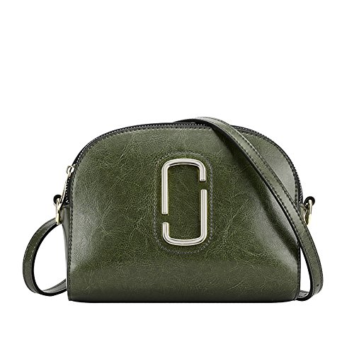 - DeLamode Women Genuine Leather Square Bags Shoulder CC Logo HandsBags Green