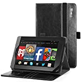 Fire HD 7 (2014 Model) Case - Poetic Fire HD 7 Case [SlimBook Series] - [SlimFit] [Professional] PU Leather Slim Folio Case for Amazon Fire HD 7 (2014 Model) 4th Gen Only - Black , Will Not Fit Fire 7