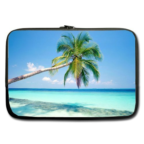 WECE Sandy Tropical Paradise Beach with Palm Trees and The Sea Ocean 13 Inch Laptop/Notebook Computer Sleeve Bag Case (Two Sides) for MacBook, MacBook Air/Pro 13