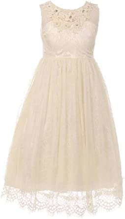 6503e50e9f9 Little Girls Dress Dressy Lace Rhinestones Princess Flower Girl Dress Ivory  2 (C50C36C)