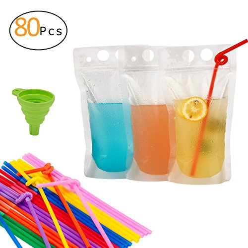 PAMASE 80 Pcs Drink Pouches Juice Bags with 80 Straws - 16oz Disposable Freezable Clear Stand up Liquid Smoothies Zipper Plastic Drink Pouch