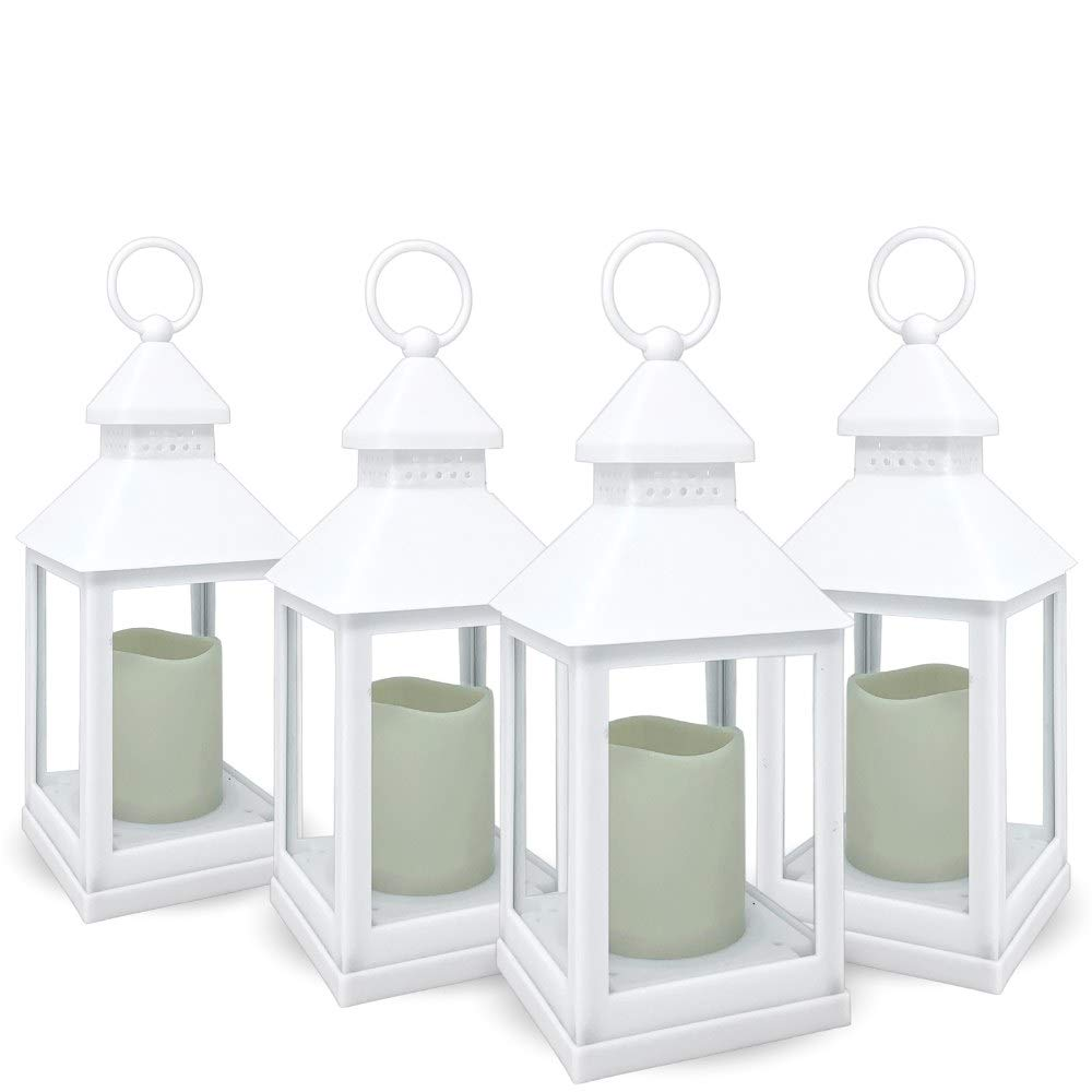 BANBERRY DESIGNS Decorative White Lanterns - Set of 4-5 Hour Timer - 11'' H White LED Lanterns with Flameless Pillar Candles Included - Indoor/Outdoor Lantern Set- Hanging or Sitting Decoration...