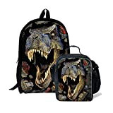 Cheap Dellukee School Backpack And Lunch Bag Set Cute Durable Daypack Dinosaur Print