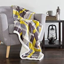 Somerset Home Fleece Sherpa Blanket Throw, Plaid Yellow Grey