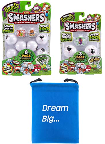 Smashers Zuru Series 2 Bundle Includes (1) Smash Ball 8 Pack + (1) Smash Ball 3 Pack with Compatible Toy Storage Bag!