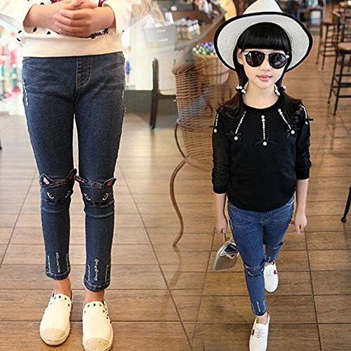 bleu 150 Skyeye Jeans stretch en jean pour petites filles avec taille /élastique Pantalon pour enfant