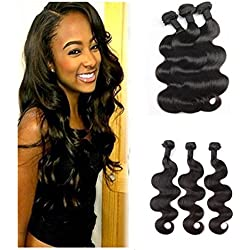 Luduna Brazilian Hair Body Wave 3 Bundles 8a Unprocessed Human Hair Extensions Can Be Dyed And Bleached (12 14 16, Natural Color)