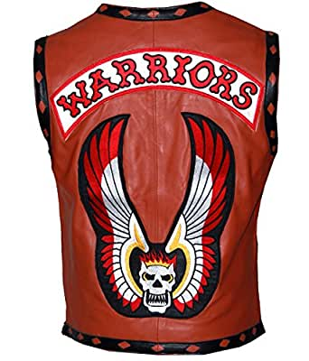 "New Mens Warriors Brown Genuine Leather Biker Vest (XXL - to fit chest 47-48"")"