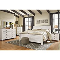 Willannet Casual Whitewash Color Wood Bed Room Set, King Panel Bed, Dresser, Mirror, Chest And Two Nightstands