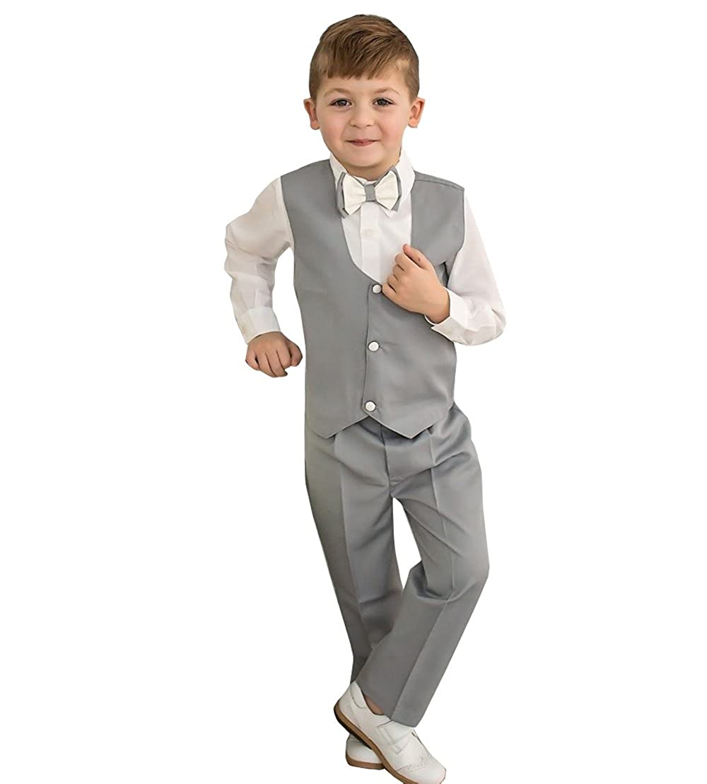 yeoyaw 2018 Boys Slim Fit Formal Suits Set Vest Pants 2T-14 Wedding Party Ceremony