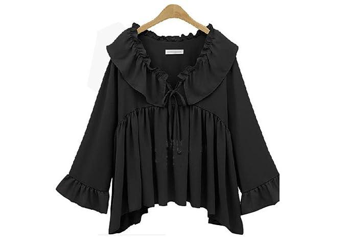 Haroty Las Mujeres Blusas de Volantes Camisa de Gasa Plisada Suelto Ocasionales Vintage Sencillos Slim Fit
