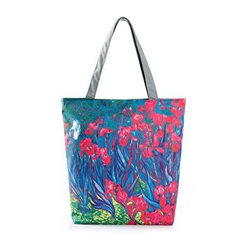 Painting Zipper Flower Kofun Flower Red Flower Women Shoulder Handbag Tote Canvas Shopping Bag qxF4wHUn