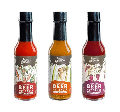 Beer-infused Hot Sauce Variety 3-pack (Includes Asian Sriracha, Garlic Serrano, & Roasty Chipotle) - Craft Beer Gift, Hot Sauce Gift Set, Beer Sauce, BBQ Sauce, Beer Lover, Grill + Man Cave (Garlic Beer)
