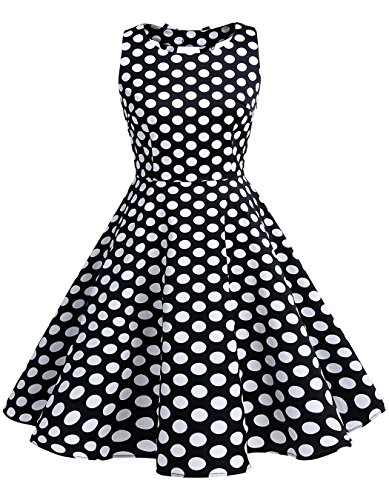 BeryLove Women's Vintage 50s Polka Dot Bowknot Retro Swing Cocktail Party Dress BlackWhiteDot Size L (1950s Pin Up Costume)