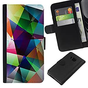 KingStore / Leather Etui en cuir / HTC One M9 / Arte Formas colores pastel brillante