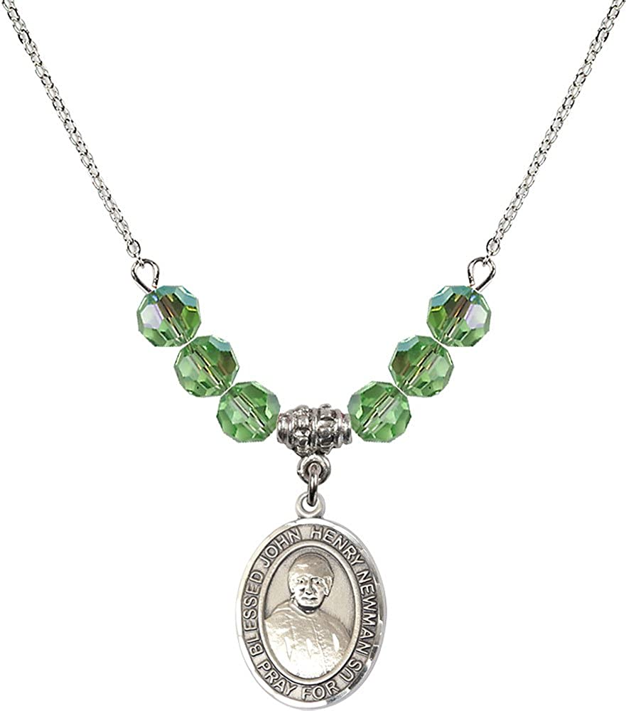 18-Inch Rhodium Plated Necklace with 6mm Peridot Birthstone Beads and Sterling Silver Blessed John Henry Newman Charm.