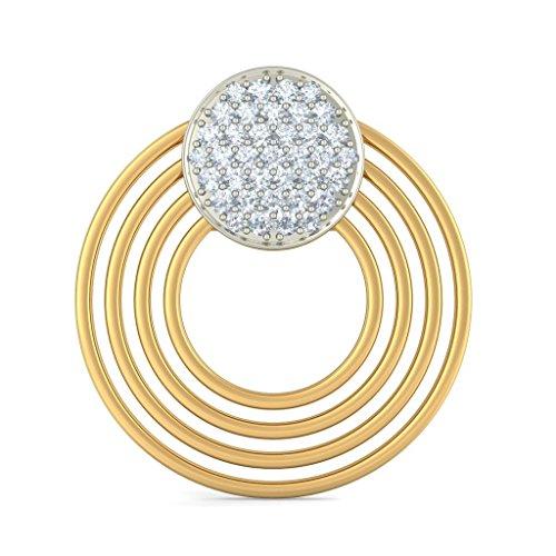 14K Or jaune 0.56CT TW White-diamond (IJ | SI) Pendants d'oreilles