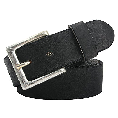NPET Mens Full Grain Leather Belts Snap on Belt Strap 1 1/2
