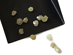 2 Pieces Yellow Raw Diamonds, Flat Rough Diamonds, Uncut Diamonds 5mm each Approx, SKU-11