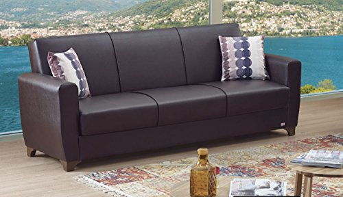 Dark Sofa Convertible Brown (BEYAN Queens Collection Modern Convertible Folding Sofa Bed with Storage Space Includes 2 Pillows, Dark Brown)