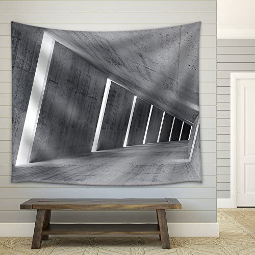 Empty Abstract Concrete Interior 3D Render of Pitched Tunnel Fabric Wall