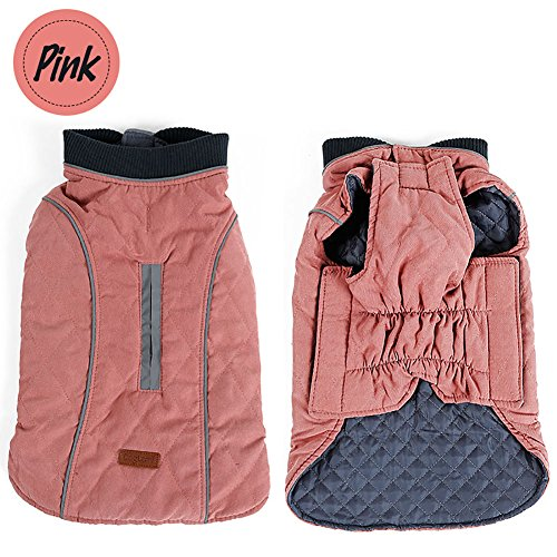 Sensfun Vintage Dog Jacket and Reversible Dog Coats Flexible Rib for Neck Warm and Comfortable Pink Medium