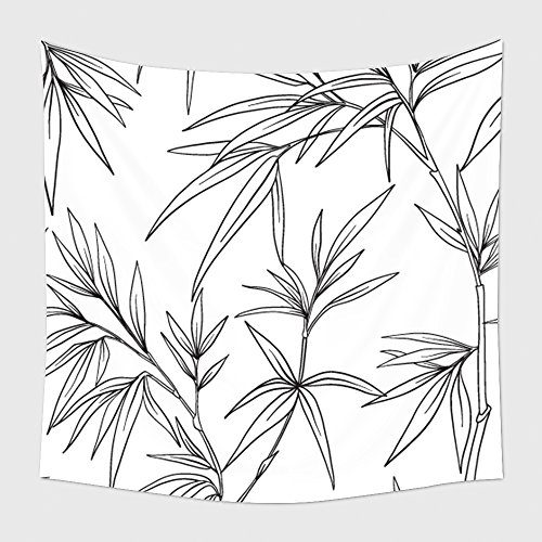 Home Decor Tapestry Wall Hanging Seamless Pattern With Bamboo In Japanese Style Outline Drawing Coloring Page Coloring Book For 595374518 for Bedroom Living Room Dorm (Halloween Grid Coloring Pages)