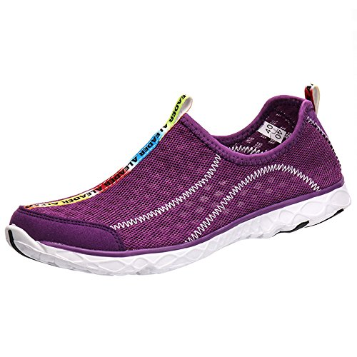 ALEADER Women's Mesh Slip On Water Shoes Purple 8 D(M) US
