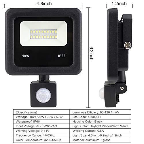 Remon Motion Sensor Led Flood Lights 10W Outdoor Induction LED Lamp Security Intelligent Lights 6500K, IP66 Waterproof Spotlight with US 3-Plug – Daylight White
