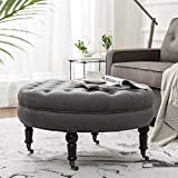 Simhoo Large Round Tufted Lined Ottoman Coffee Table with Casters,Grey Upholstery Button Footstool Cocktail with Wheels for Living Room