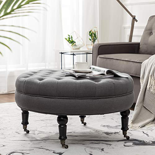 Simhoo Large Round Tufted Lined Ottoman Coffee Table with Casters,Grey Upholstery Button Footstool Cocktail with Wheels for Living Room (Large Round Ottoman Coffee Table)
