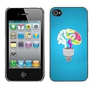 Paccase / SLIM PC / Aliminium Casa Carcasa Funda Case Cover - Funny Brain Light - Apple Iphone 4 / 4S