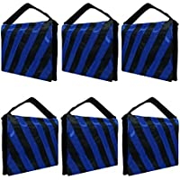 Julius Studio 6 Packs of Heavy Duty Photographic Sand Bag Blue Stripe, Video Photo Studio Weight Bag for Light Stand Tripod, Boom Arm Stand, 20 lbs Max Capacity Saddlebag, Photography Studio, JSAG254