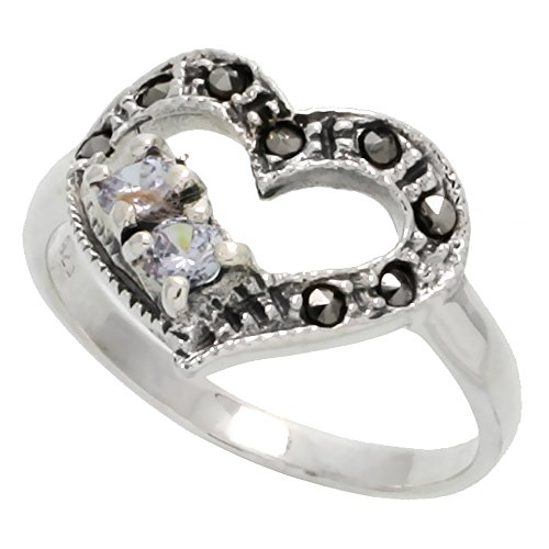 Sterling Silver Marcasite Heart Cut-out Ring, w/ Brilliant Cut CZ Stones, 1/2 inch (15 mm) wide, size 7