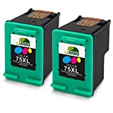 Desk Printer - JARBO Remanufactured HP 75XL Ink Cartridge High Yield, 2 Color, Use with HP Officejet J6480 J5780 J5780 HP Deskjet D4260 D4360 HP Photosmart C4280 C5280 C4480 C4580 C4385 C5580 C5550 D5360 Printer