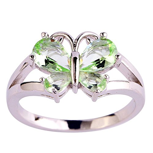 Psiroy 925 Sterling Silver Grace Womens Band Charms Gorgeous 6mm4mm Pear Cut Created Green Amethyst Filled Ring