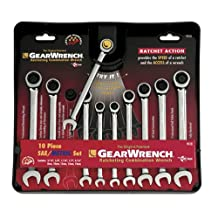 GearWrench 9418 10 Piece SAE/Metric Combination Ratcheting Wrench Set