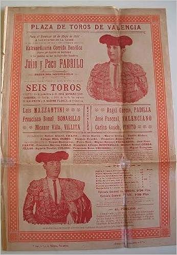 CARTEL Plaza de Toros de Valencia - Mayo 1899 - CORRIDA ...