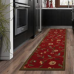 "Ottomanson Ottohome Collection Floral Garden Design Modern Runner Skid (Non-Slip) Rubber Backing (20"" X 59"", Red Flora) Area Rug"