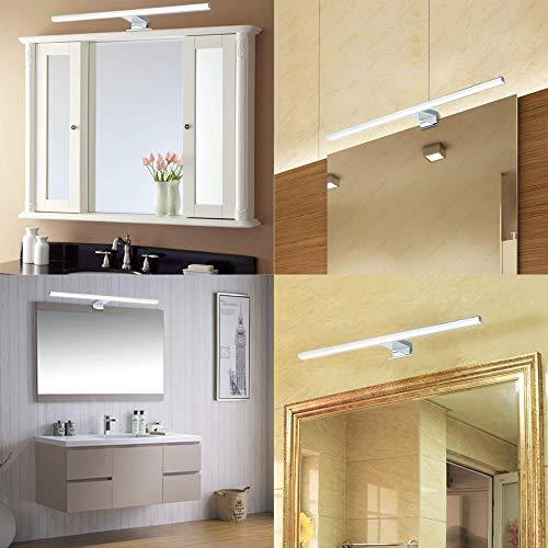 Lampada da specchio a LED 10W 820LM Lampada da bagno Azhien, Neutral White Lampada da parete a LED 4000K LED IP44 Lampada da bagno a specchio 230V acciaio inox 60cm